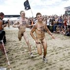 cavorting: Naked festival boys