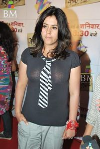 Masala Figures: Ekta kapoor in transparent again boobs visible