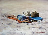 Beach Read'  Figurative Oil Painting by Amanda Russian