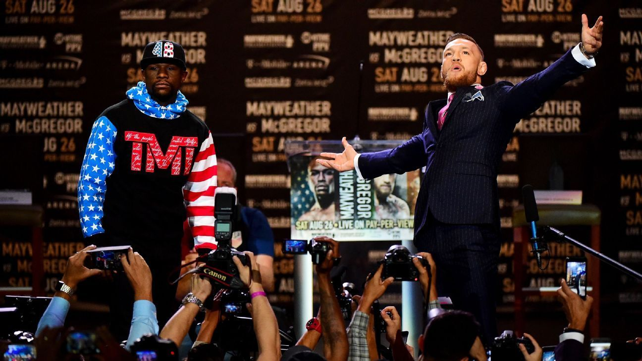 Floyd Mayweather, Conor McGregor trade insults as press tour begins - ESPN