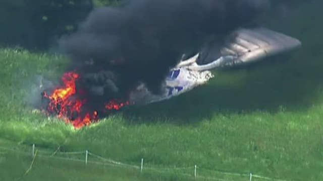 PenFed blimp deflates, bursts into flames and crashes