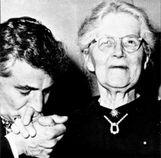 Nadia Boulanger with her adoring fan Leonard Bernstein