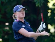 Stacy Lewis of USA plays on the third hole during the second round of
