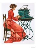 Victorian Female Secretary at Type Writer Giclee Print by Peter