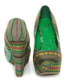 Mona Mia Inspiracion Green Multi Fabric Platform Wedges  $49.00 on