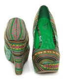 Mona Mia Inspiracion Green Multi Fabric Platform Wedges  $49 00 on