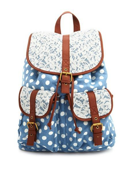 Lace Trim Chambray Polka Dot Backpack Charlotte Russe