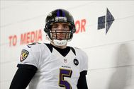 Jan 12, 2013; Denver, CO, USA; Baltimore Ravens quarterback Joe Flacco