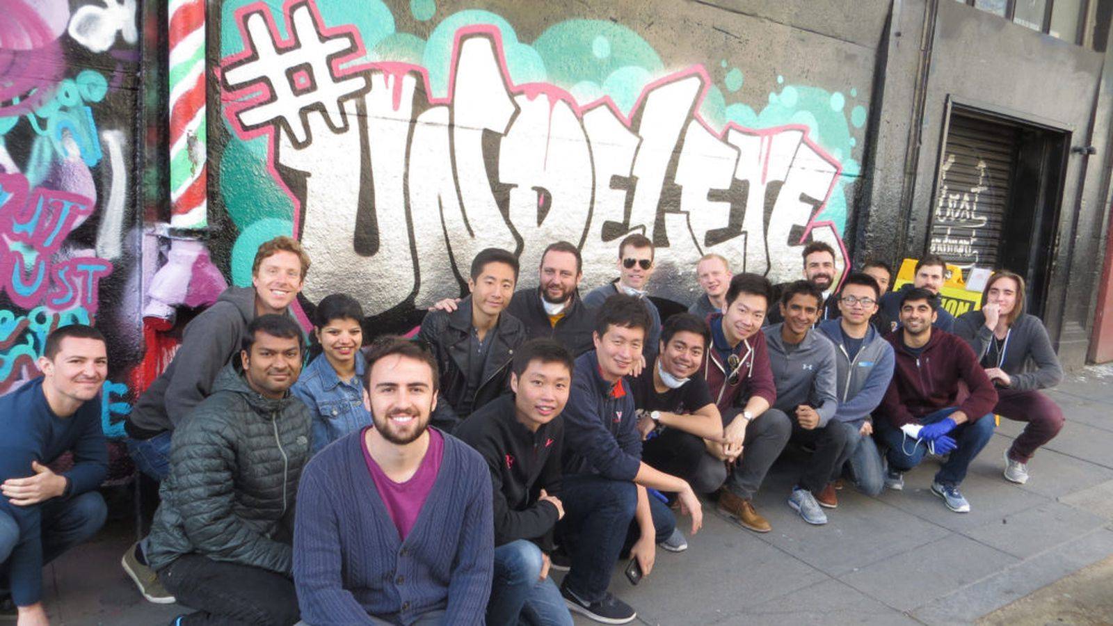 Uber employees spray-painted a wall with the word 'Undelete'