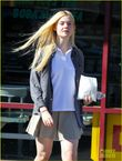 elle fanning school girl in studio city elle fanning showing some