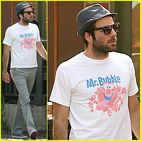 Zachary Quinto dons a Mr. Bubble tshirt as he runs a few errands with