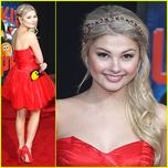 Stefanie Scott is radiant in red as she steps out at the premiere of