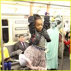 Skai Jackson: Subway Swinger  Skai Jackson swings from the bar inside