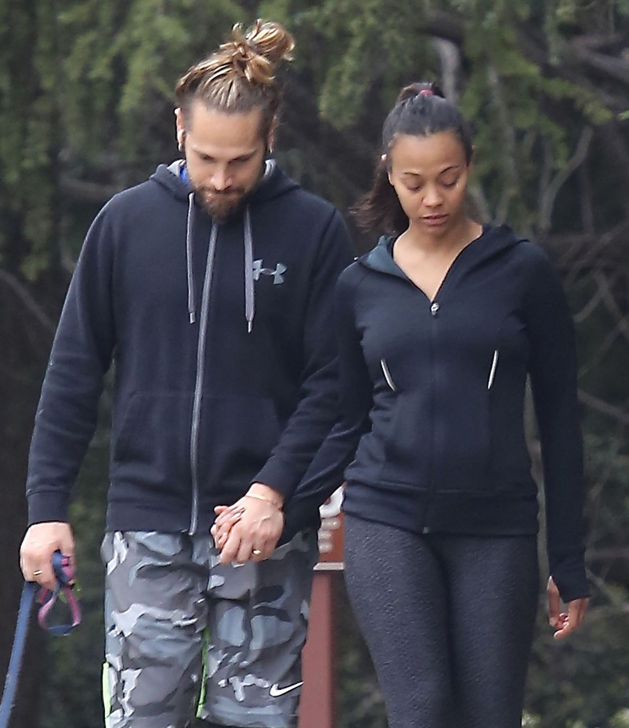 Zoe Saldana Hiking With Her Husband In Beverly Hills