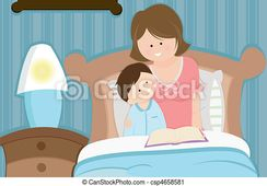 Vector  Mother and son reading bedtime story  stock illustration