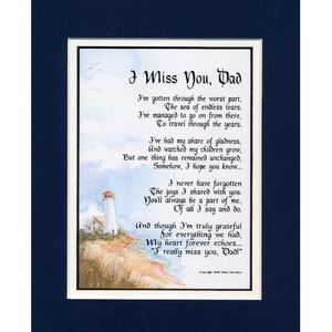 "Amazon com: ""I Miss You, Dad"" Touching 8x10 Bereavement Poem, Double"