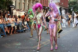 Naked Glitter girls on the phone at the Art Parade LS | Flickr  Photo