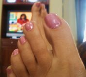 Pink Toenails, my feet and toes after I painted my toenails a frosty