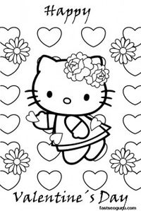 Printable Hello Kitty Happy Valentines day Coloring Pages - Printable