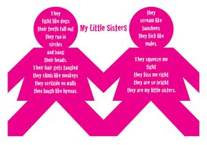 More visual than shape poetry, My Little Sisters was a poem that