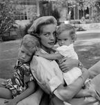 Bacall and Bogart with their two children, Stephen Humphrey and Leslie