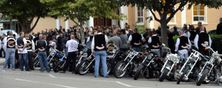 Hells Angels mourn a fallen brother at his funeral.