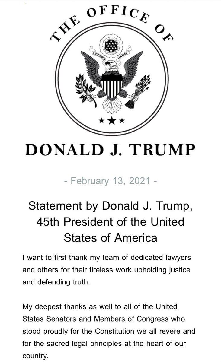 "45th President Trump releases statement on Senate acquittal ""Our movement to Make America Great Again has only just begun"""