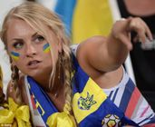 Lookers: Ukrainian fans at Euro 2012 were likely to be better looking