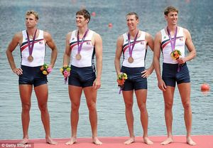 Whatever floats your boat: Henrik Rummel, second from left, stands