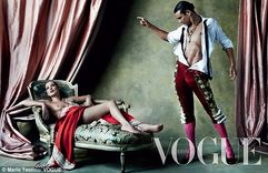 Spanish rose: Kate Moss poses topless for Spanish Vogue alongside