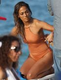 babe: Jennifer Lopez showed off her stunning figure in a cutaway nude
