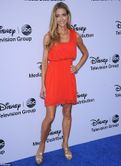 Golden star: Denise Richards showed off her toned legs and arms at the