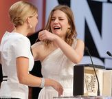Tears: Emotional Lea Seydoux, left, and Adele Exarchopoulos embrace as