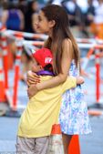 Gracious star: The actress hugged a young fan who appeared thrilled to