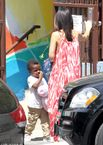 Sandra Bullock and son Louis Bardo show off their summery style
