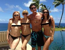 He's at it again! Charlie Sheen poses with three new girlfriends (LR