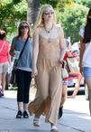 Elle Fanning spends the day shopping with her mother wearing nude maxi