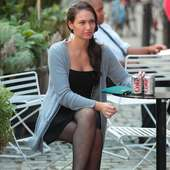 Actress Paloma Guzman Relaxed In Comfy Slippers And Enjoyed A Drink