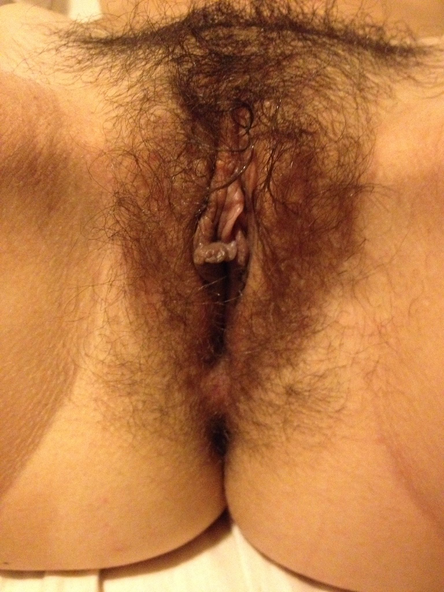 Close Up View Of My Wet Hairy Pussy