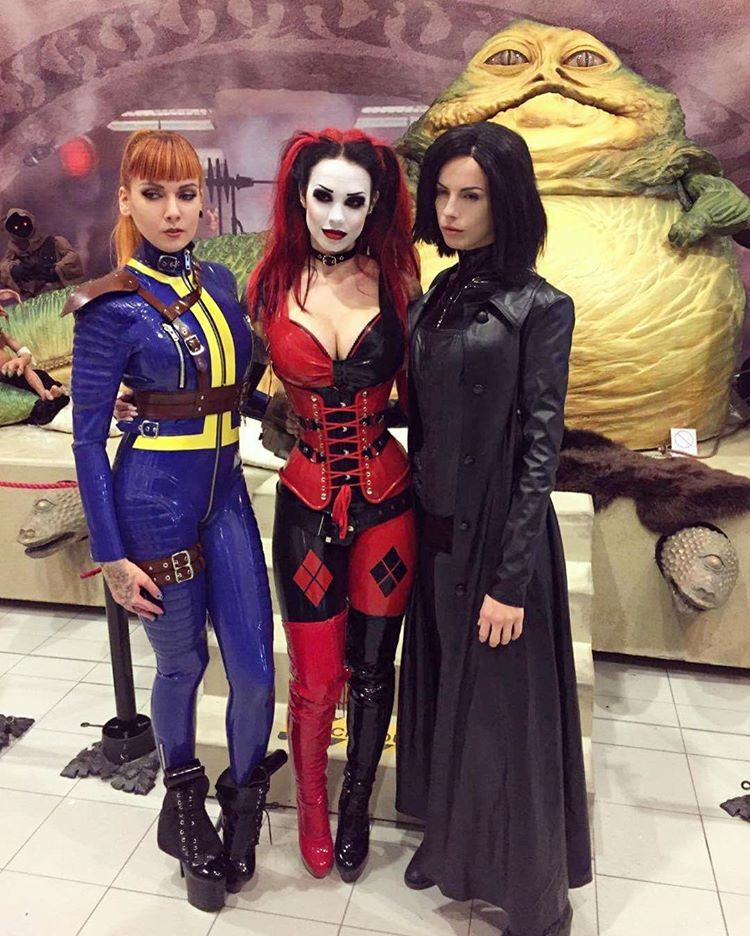Harley Quinn, Selene and Vault girl (x-post from /r/latexcosplay)
