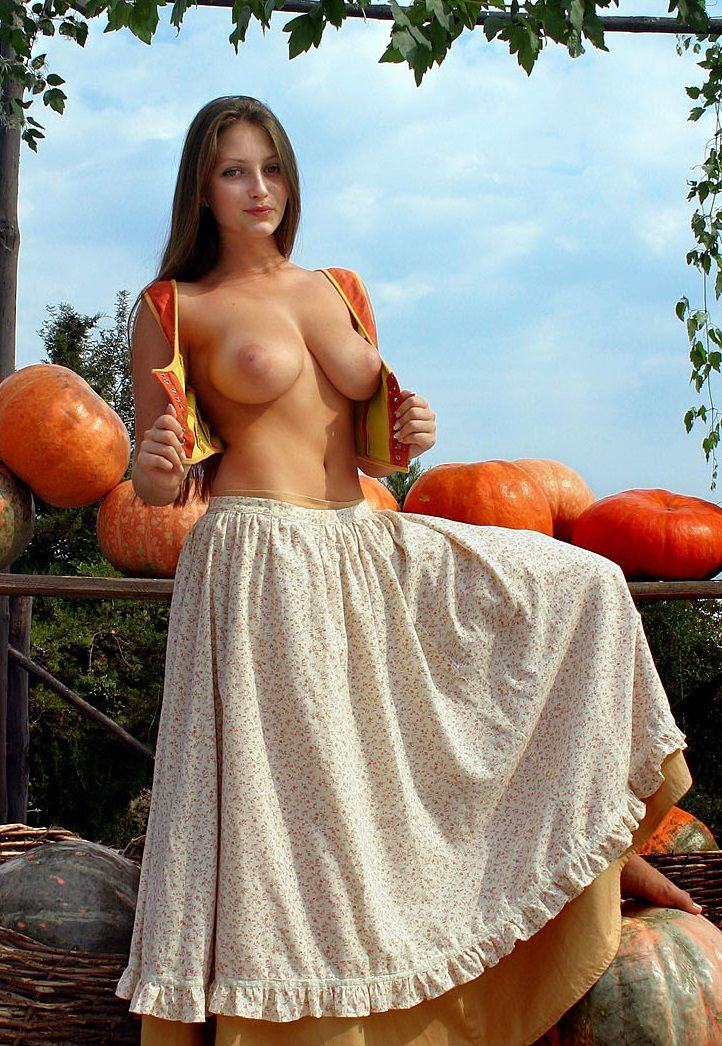 [Busty Amateurs] [Image] Orange orbs… (Xpost /r/skirtnoshirt)