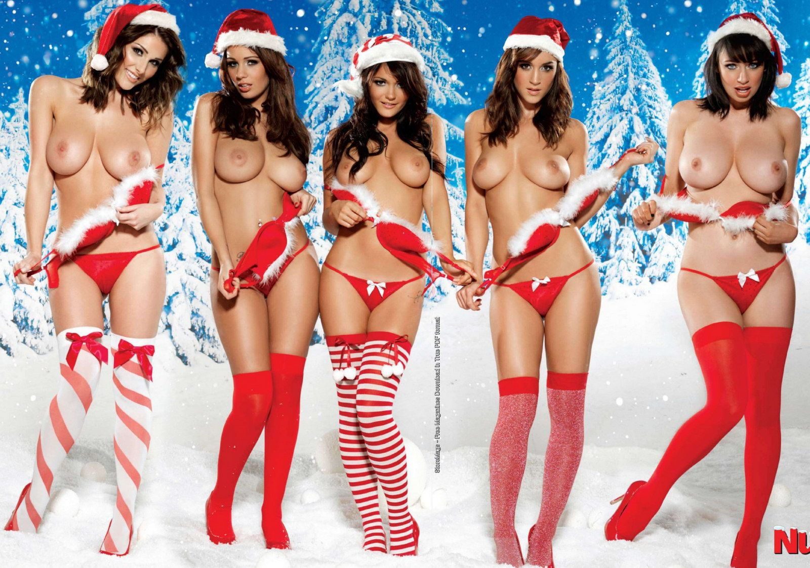 Five stunning Christmas brunettes (x-post from /r/xmasbabes)