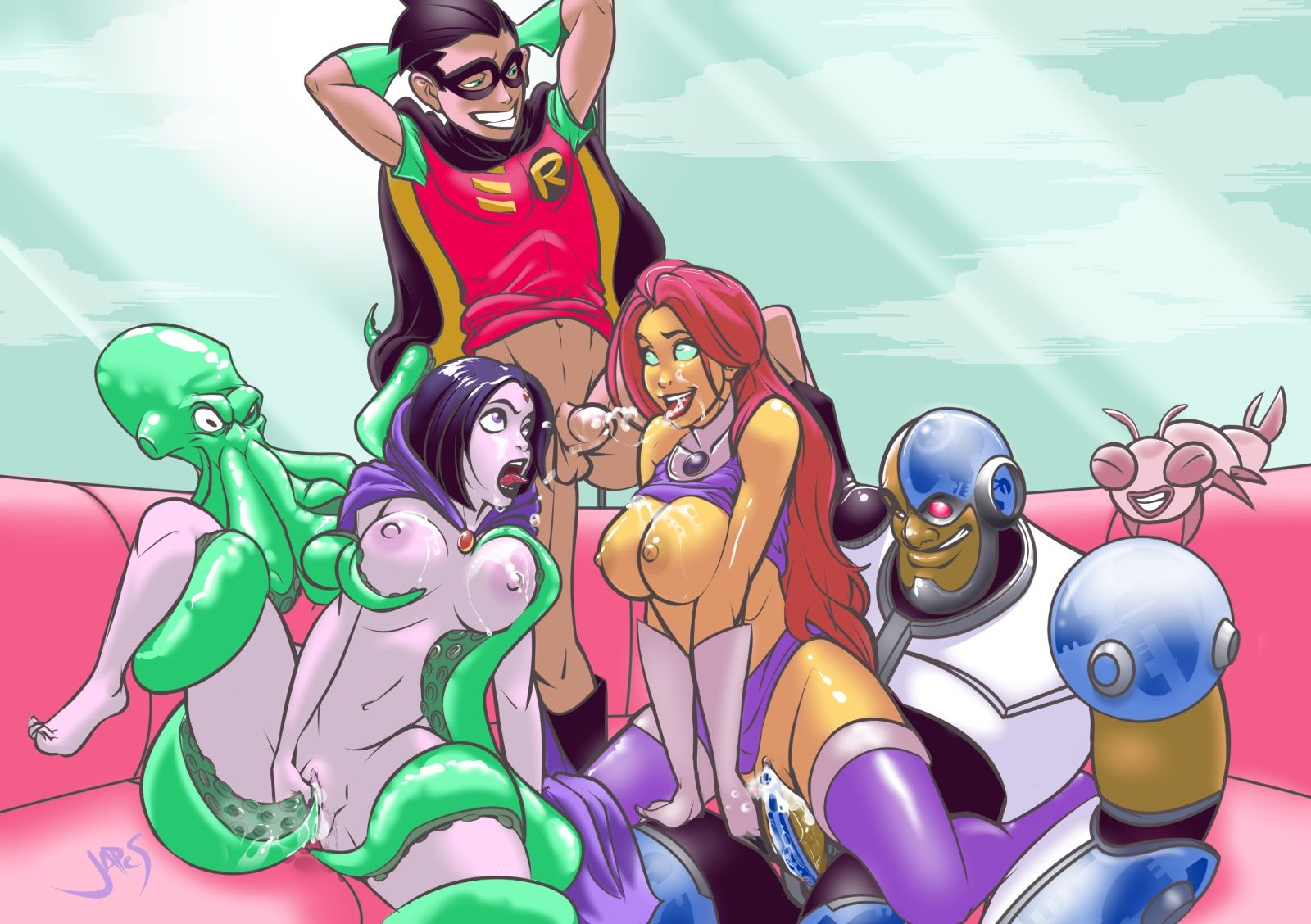 [Rule34] Titans Together! feat. Raven, Starfire, Robin, Cyborg, and Beast Boy (japes) [Teen Titans]