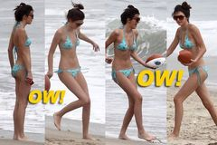Kendall Jenner and Her Nephew Mason Playing at Malibu Beach