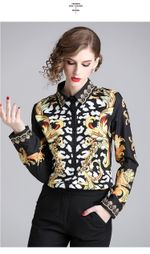 Spring Autumn Elegant Long Sleeve Fashion Slim Chiffon BlouseS Women Vintage Floral Print Wild Casual ShirtS