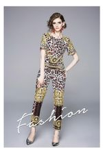 Summer Casual Suit Leopard Vintage Print Round Neck Short Sleeve Tops Nine Pants Fashion Elegant 2 Piece Set Women