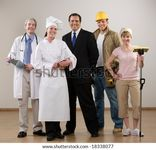 Doctor, Chef, Construction Worker And Housewife Posing Stock Photo