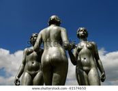 Statue Of A Group Of Naked Women, Paris Stock Photo 61574650