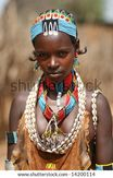 ETHIOPIA  UNKNOWN: A young female tribal member wearing traditional