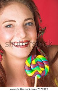 stock photo : Young female adult fashion model with natural red hair